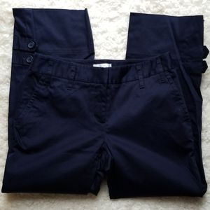 Loft Navy Button Detail Ankle Pants Sz 0
